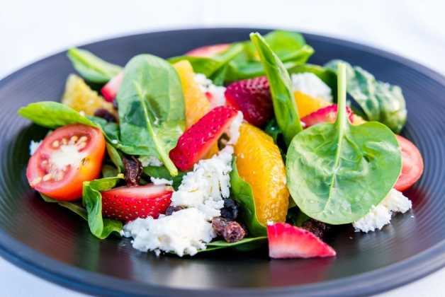 Strawberry Spinach Saladncrumbled feta cheese, candied pecan, sundried cranberries, maple orange vinaigrette