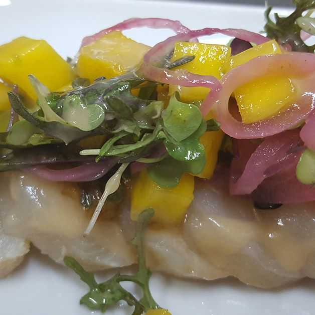 waho crudo with guava dressing