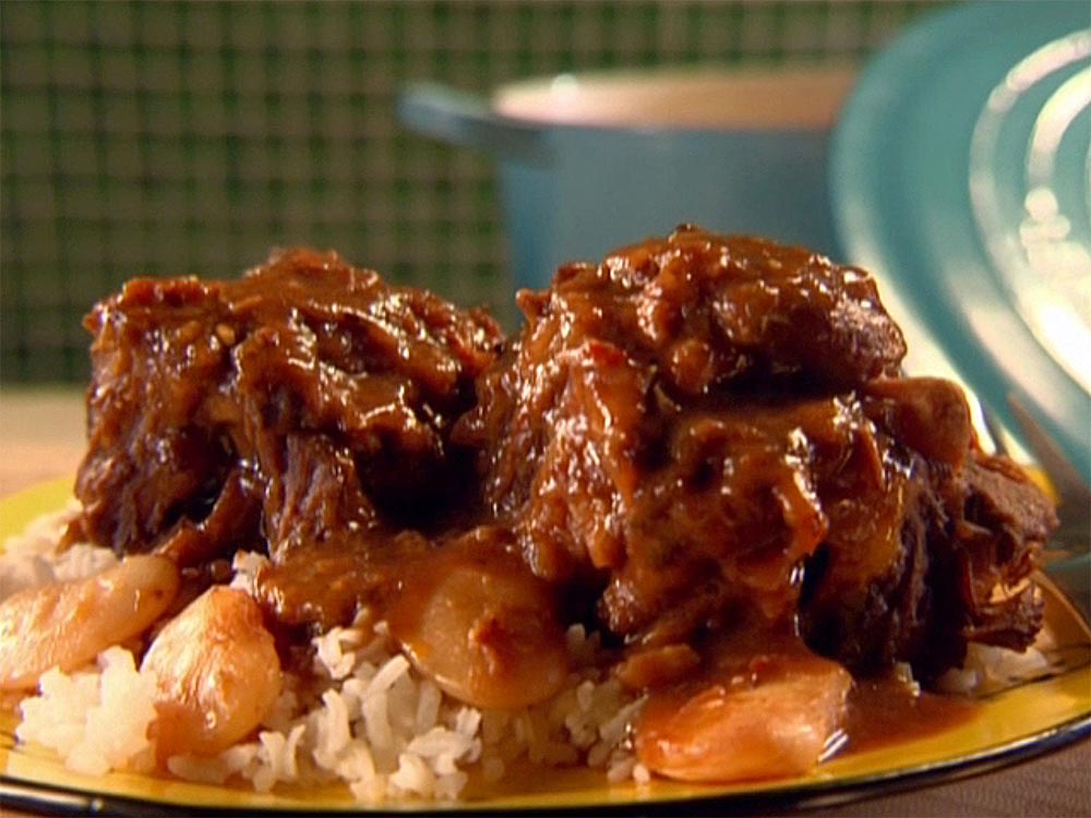 Oxtail Stew with Fried Beans and Rice