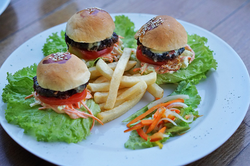 Delicious Mini Beef Burger with Salad and Fries