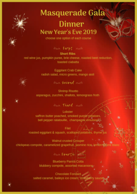 Masquerade Gala Dinner, New Year's Eve 2019